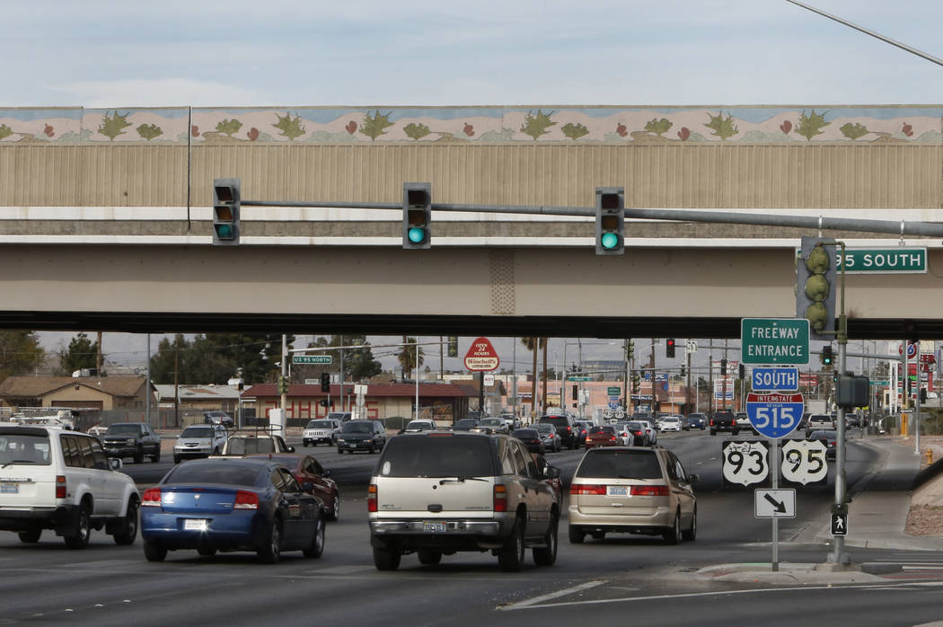 Motorist travel under Interstate 95 bridge on Eastern Avenue on Thursday, Feb. 1, 2018, in Las Vegas. Bizuayehu Tesfaye/Las Vegas Review-Journal @bizutesfaye