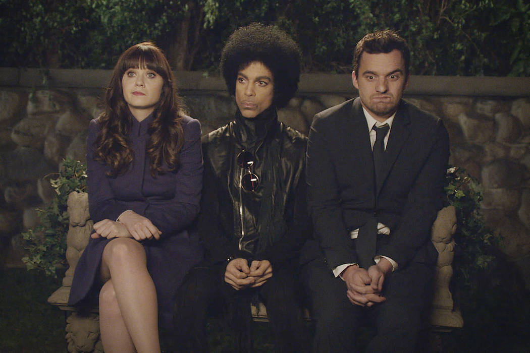 "Music royalty Prince made a special guest appearance in the ""Party Time"" episode of ""New Girl"" Sunday, Feb. 2 on FOX.  Also pictured:  Zooey Deschanel and Jake Johnson.  ©2014 Fox Broadcasting Co ..."