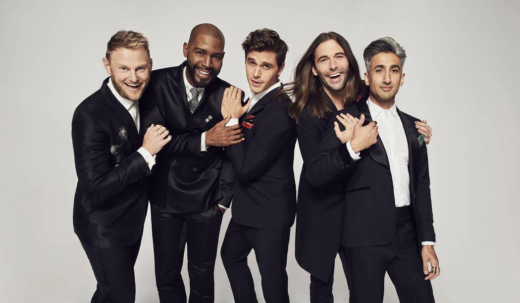 """From left, Bobby Berk, Karamo Brown, Antoni Porowski, Jonathan Van Ness, Tan France star in Netflix's """"Queer Eye."""" (Gavin Bond/Netflix)"""