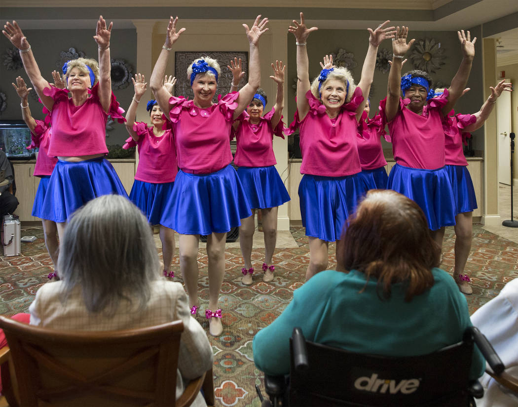 """Margo Young's Aliente Steppers perform """"Piano Roll Blues"""" during an event hosted by the Ms. Senior Nevada organization at The Bridge at Paradise Valley on Tuesday, January 30, 20 ..."""
