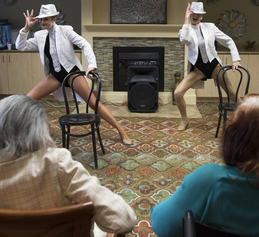 """Donna Browning, left, and Troy Stern perform the dance routine """"Burlesque"""" during an event hosted by the Ms. Senior Nevada organization at The Bridge at Paradise Valley on Tuesda ..."""