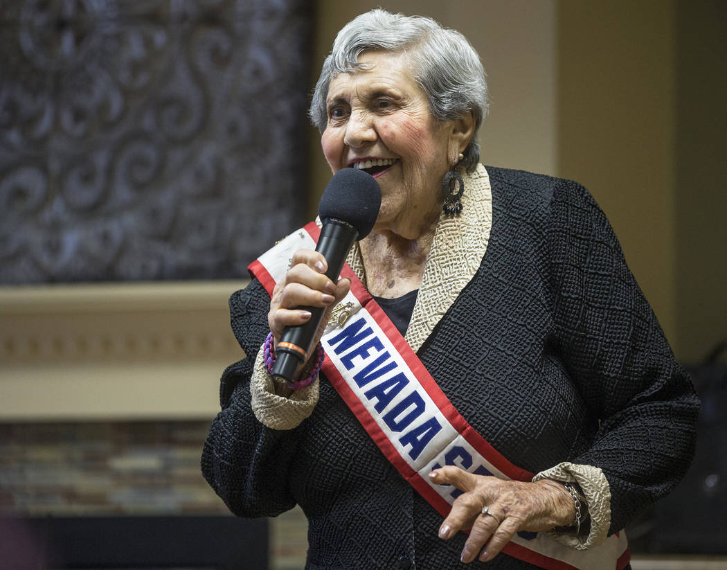 """Dorothy Guralnik, 94, sings """"I Can't Give You Anything but Love"""" during an event hosted by the Ms. Senior Nevada organization at The Bridge at Paradise Valley on Tuesday, January ..."""