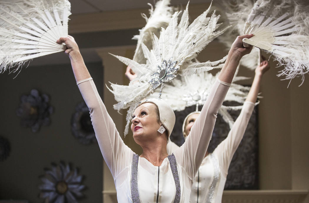 """Donna Browning, front, and Troy Stern perform a dance routine to Cold Play's """"Paradise"""" during an event hosted by the Ms. Senior Nevada organization at The Bridge at Paradise Val ..."""