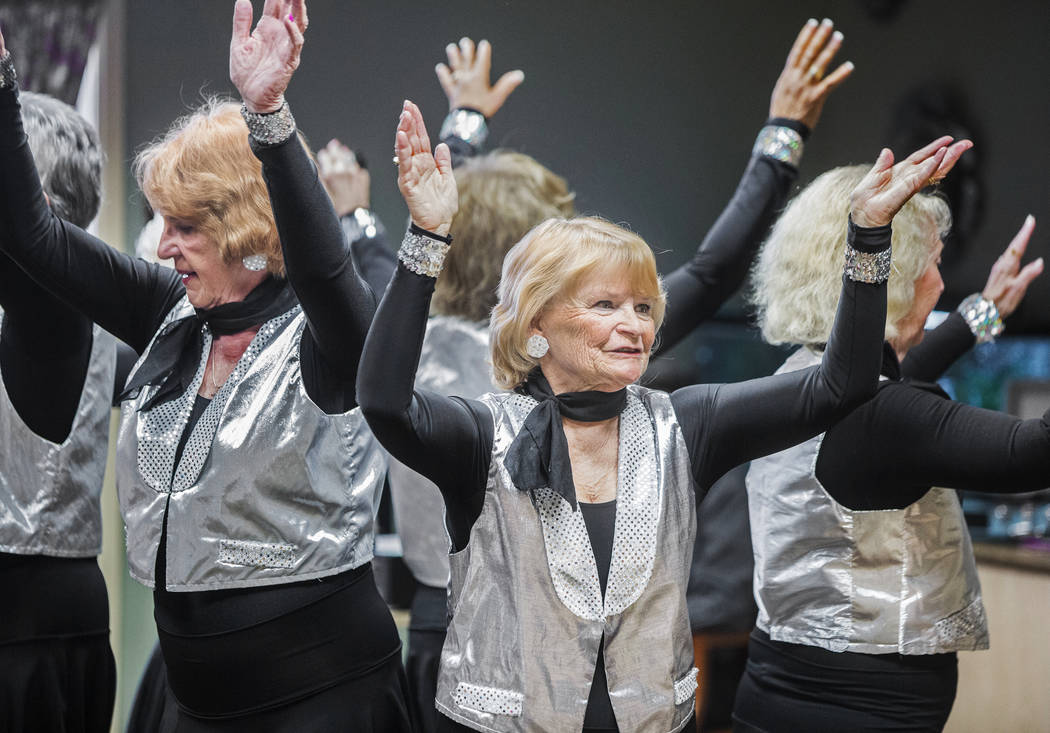 """The Sunsations dance group performs a dance routine to Patsy Cline's """"She's Got You"""" during an event hosted by the Ms. Senior Nevada organization at The Bridge at Paradise Valley ..."""
