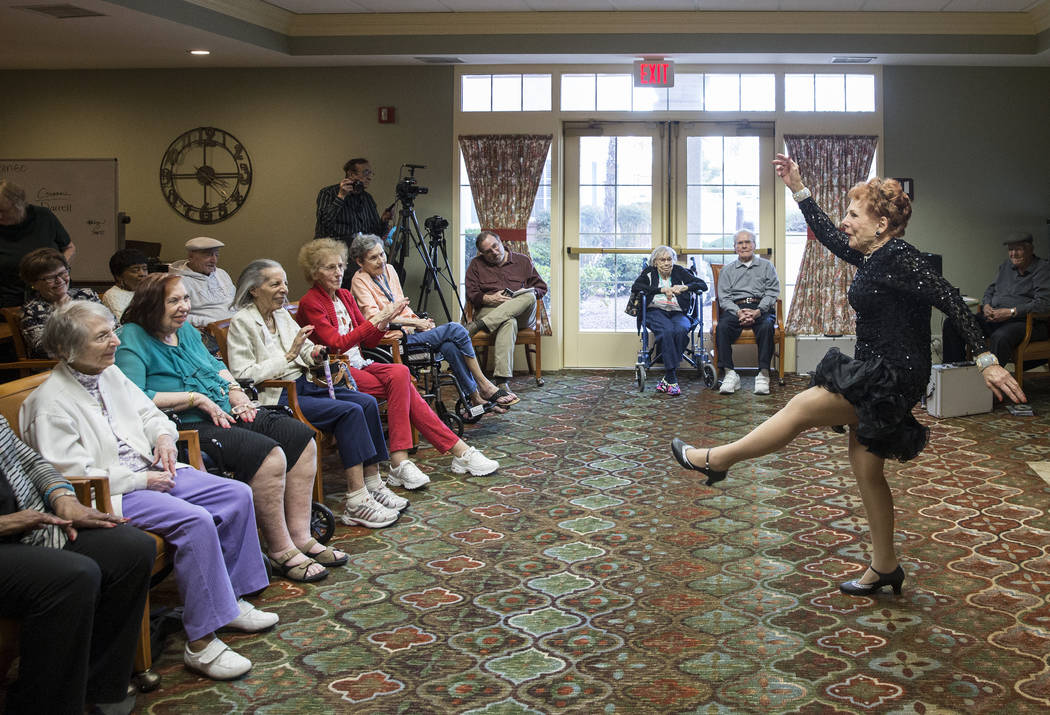 """Carol Cravens performs """"I Wanna be a Rockette"""" during an event hosted by the Ms. Senior Nevada organization at The Bridge at Paradise Valley on Tuesday, January 30, 2018, in Las Vegas. Benjamin Ha ..."""