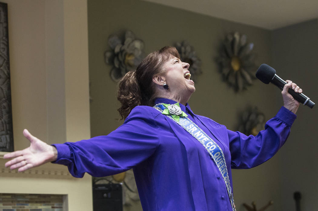 """Stormi Chaprice sings """"Don't Rain on my Parade"""" by Barbra Streisand during an event hosted by the Ms. Senior Nevada organization at The Bridge at Paradise Valley on Tuesday, Janu ..."""