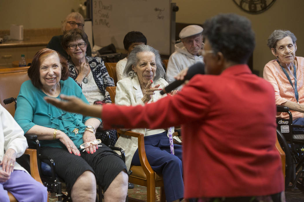 """Samaria Graham entertains the crowd singing """"Embraceable You"""" during an event hosted by the Ms. Senior Nevada organization at The Bridge at Paradise Valley on Tuesday, January 30 ..."""