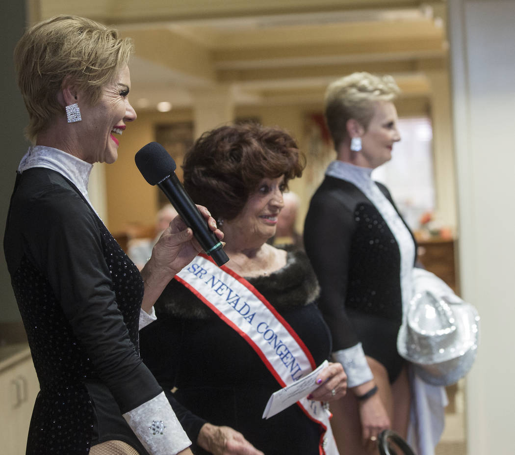 Troy Stern, left, Mary Mancini and Donna Browning address the audience during an event hosted by the Ms. Senior Nevada organization at The Bridge at Paradise Valley on Tuesday, January 30, 2018, i ...