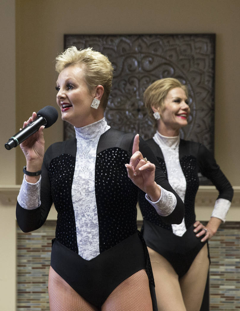Donna Browning, left, and Troy Stern talk about their extensive Las Vegas performance background during an event hosted by the Ms. Senior Nevada organization at The Bridge at Paradise Valley on Tu ...