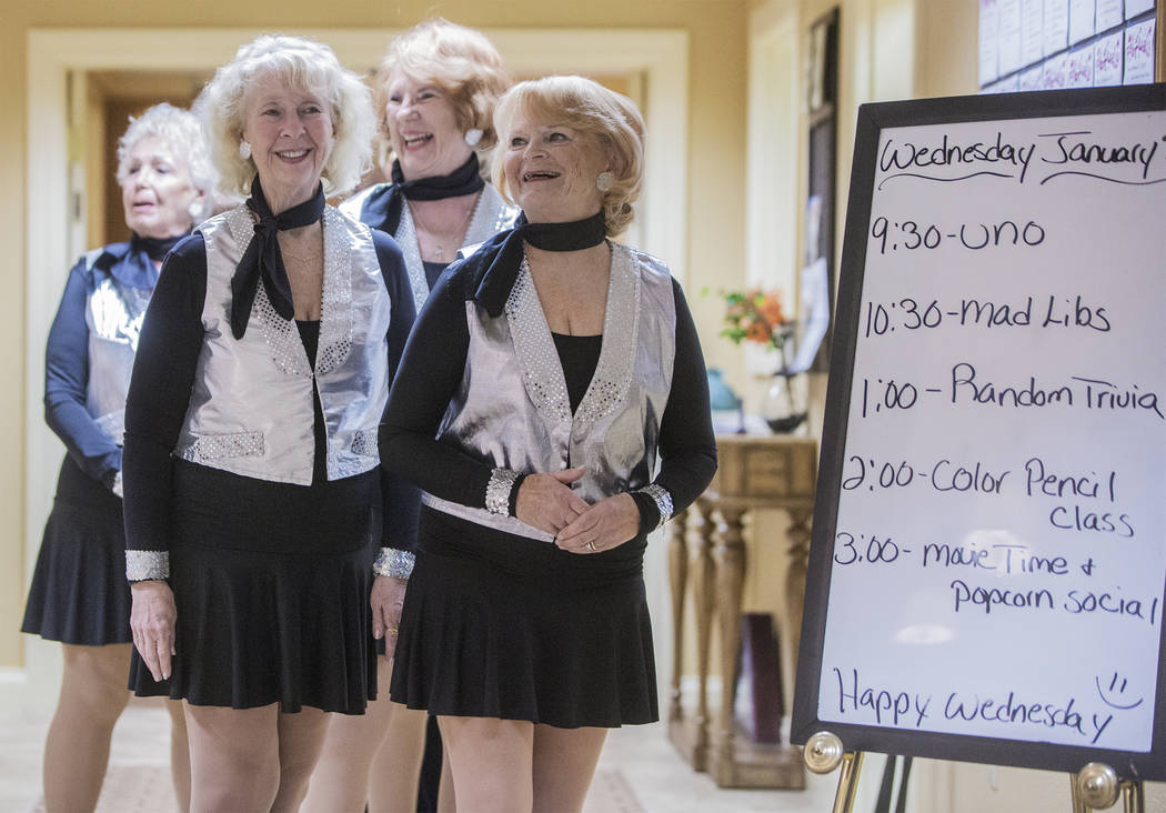 """The Sunsations dance group are introduced before performing to Patsy Cline's """"She's Got You"""" during an event hosted by the Ms. Senior Nevada organization at The Bridge at Paradis ..."""