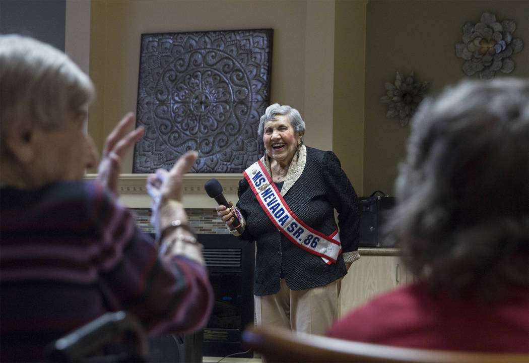 """Dorothy Guralnik, 94, is applauded after singing """"I Can't Give You Anything but Love"""" during an event hosted by the Ms. Senior Nevada organization at The Bridge at Paradise Valle ..."""