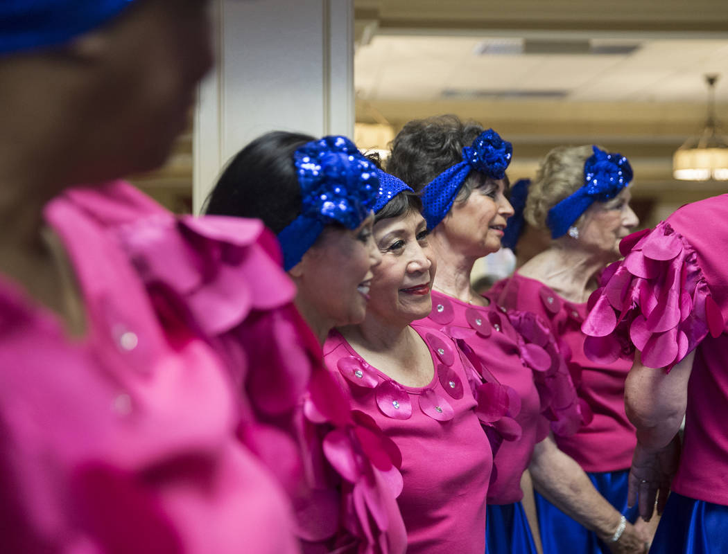 """Margo Young's Aliente Steppers answer questions from the crowd after performing """"Piano Roll Blues"""" during an event hosted by the Ms. Senior Nevada organization at The Bridge at P ..."""