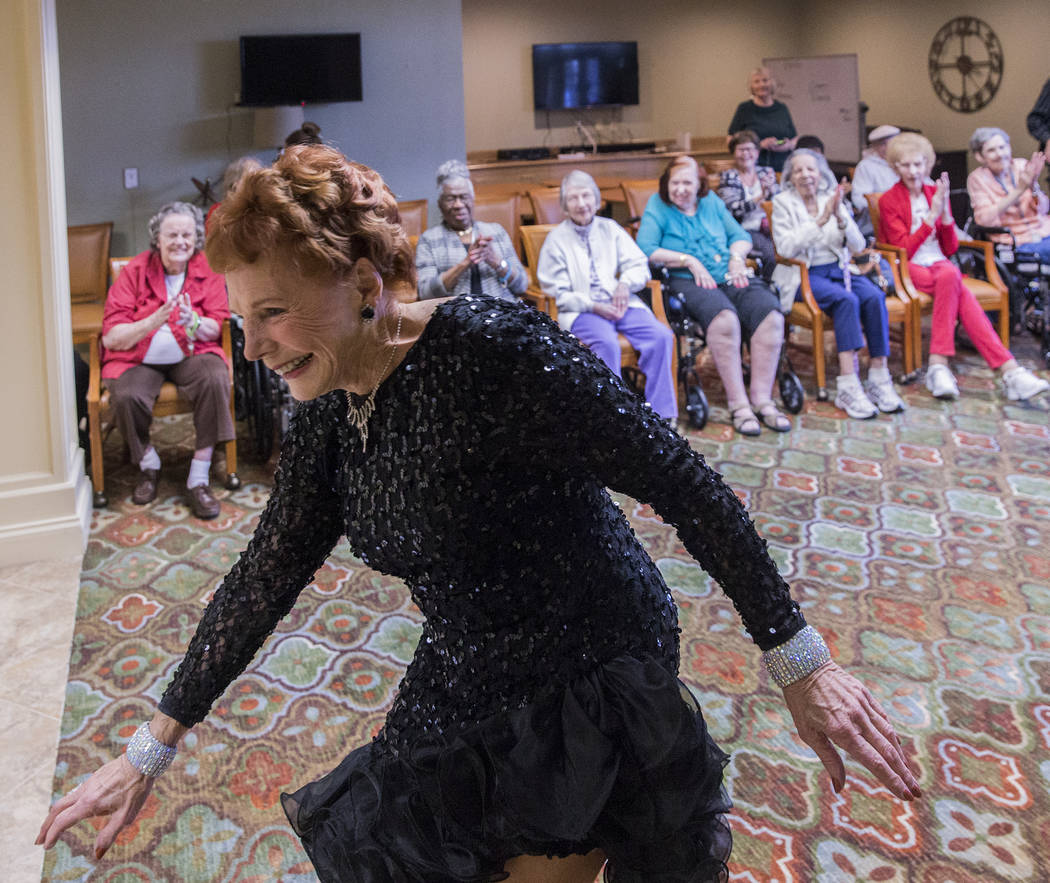 """Carol Cravens is applauded after performing """"I Wanna be a Rockett"""" during an event hosted by the Ms. Senior Nevada organization at The Bridge at Paradise Valley on Tuesday, January 30, 2018, in La ..."""
