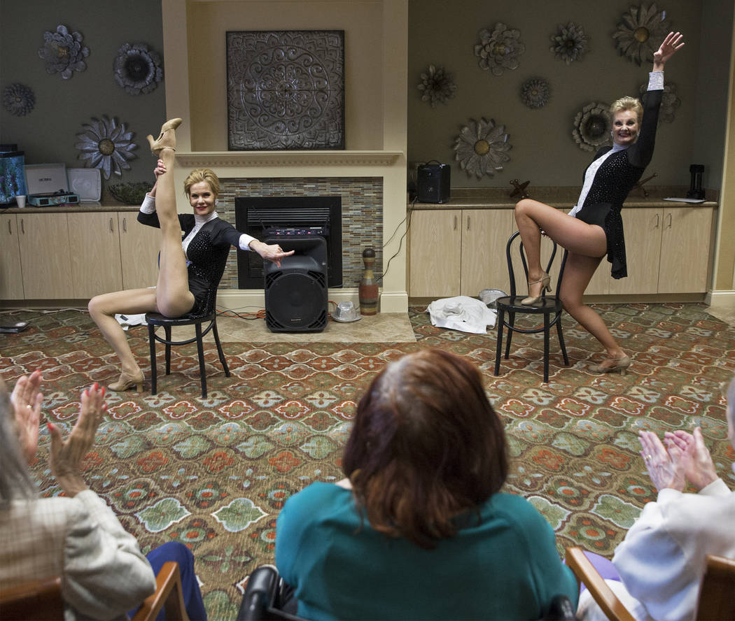 """Troy Stern, left, and Donna Browning perform the dance routine """"Burlesque"""" during an event hosted by the Ms. Senior Nevada organization at The Bridge at Paradise Valley on Tuesda ..."""