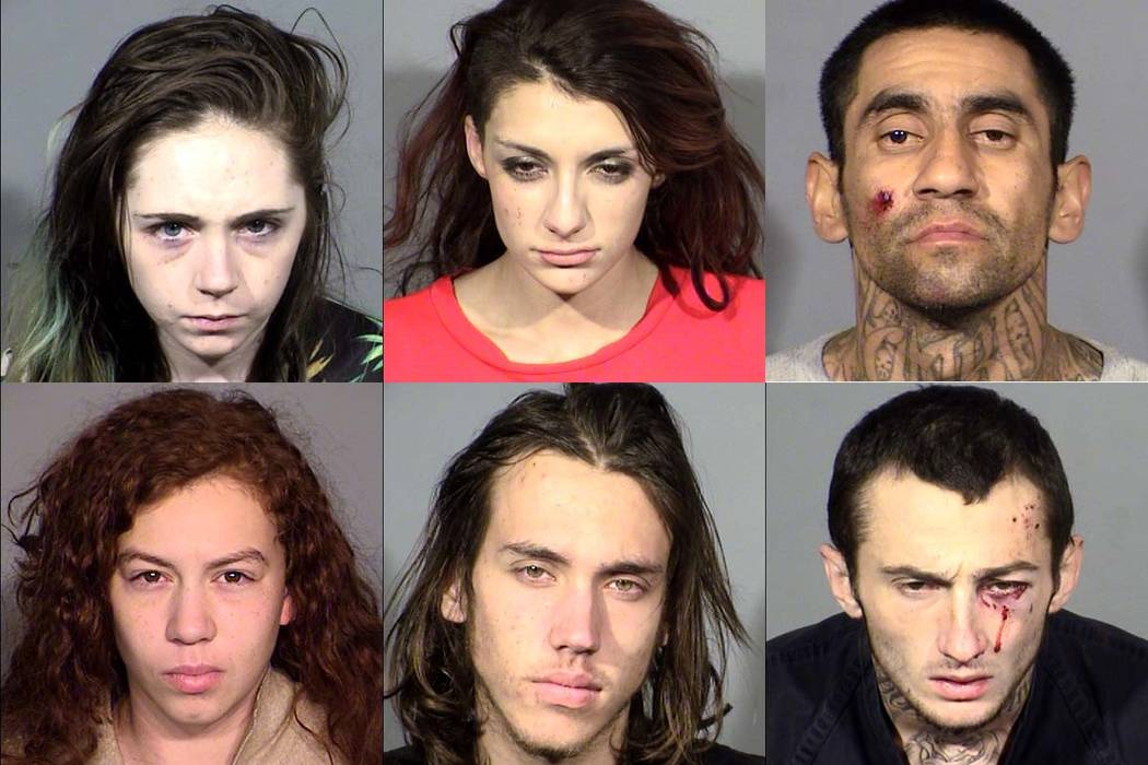 The six people suspected to have taken part in a crime spree in Summerlin and northwest Las Vegas are, from top left clockwise, Lexis Haslinger, Cierra Cipriani, Lee Estrada, Dilon Hess, Seth Meek ...