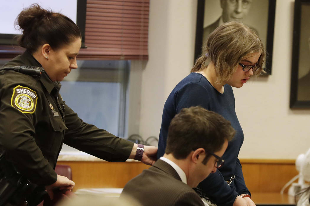 Morgan Geyser, 15,  appears for sentencing before Waukesha County Circuit Judge Michael Bohren, Thursday, Feb. 1, 2018 in Waukesha, Wis. (Rick Wood/Milwaukee Journal-Sentinel via AP, Pool)