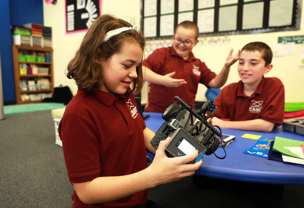 Belen Tadd, 11, looks at her team's robot during class on Thursday, Feb. 1, 2018, at Coral Academy of Science in Las Vegas. Andrea Cornejo Las Vegas Review-Journal @DreaCornejo