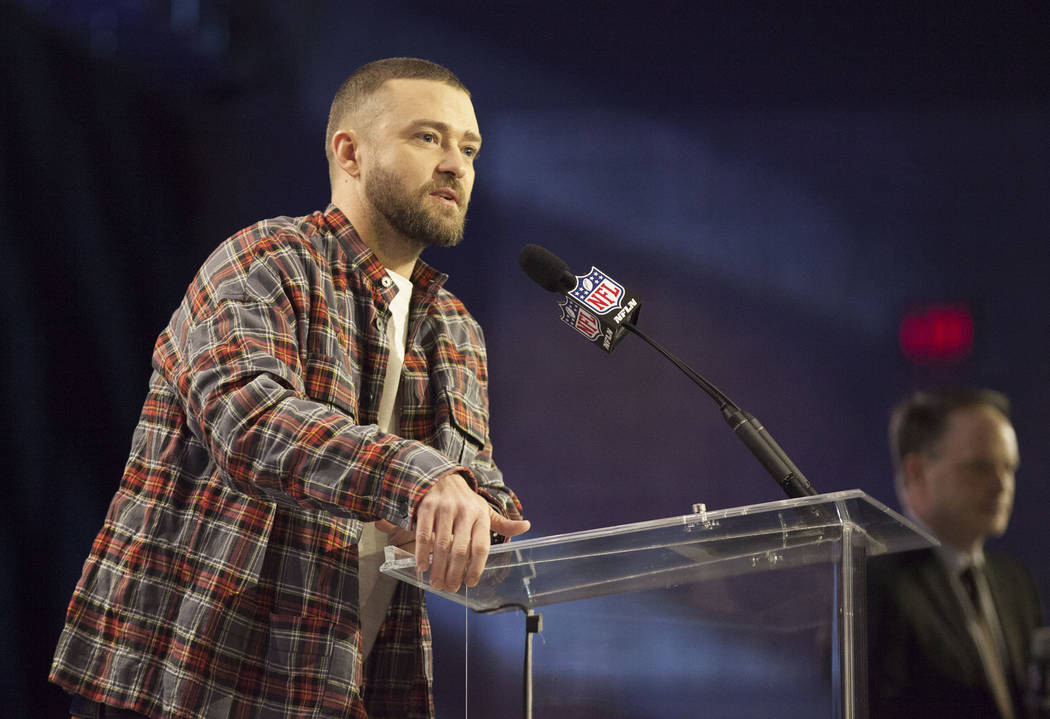 Justin Timberlake addresses media during a news conference to promote the Super Bowl LII halftime show at the Hilton Minneapolis in Minneapolis, Minn., Thursday, Feb. 1, 2018. Heidi Fang Las Vegas ...