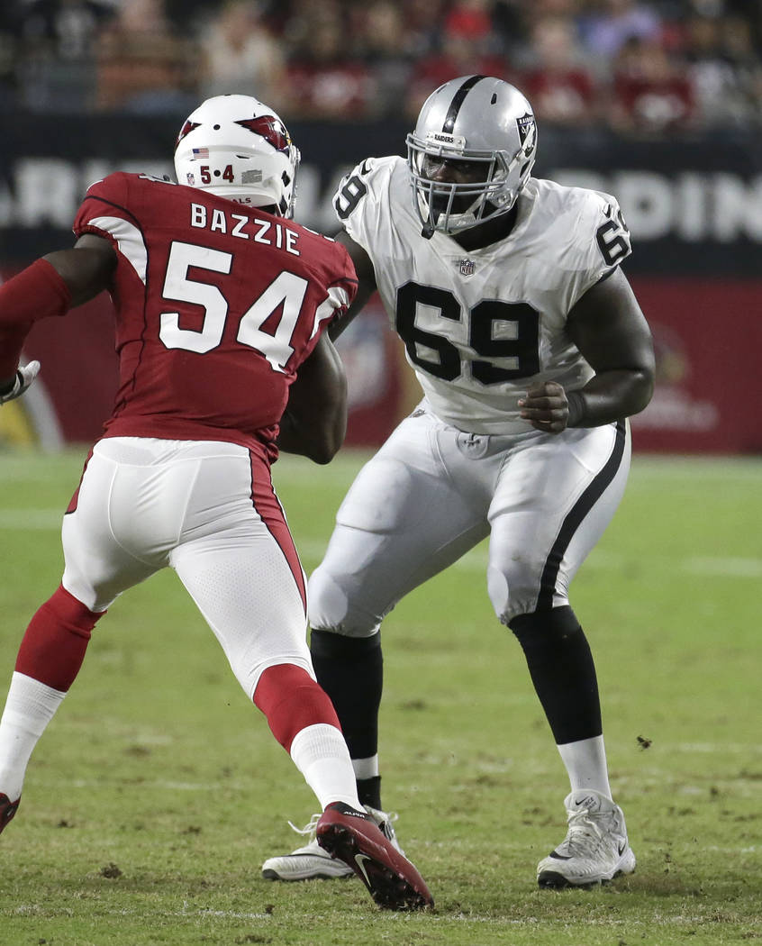 Oakland Raiders offensive tackle Jylan Ware (69) during an NFL preseason football game against the Arizona Cardinals, Saturday, Aug. 12, 2017, in Glendale, Ariz. (AP Photo/Rick Scuteri)