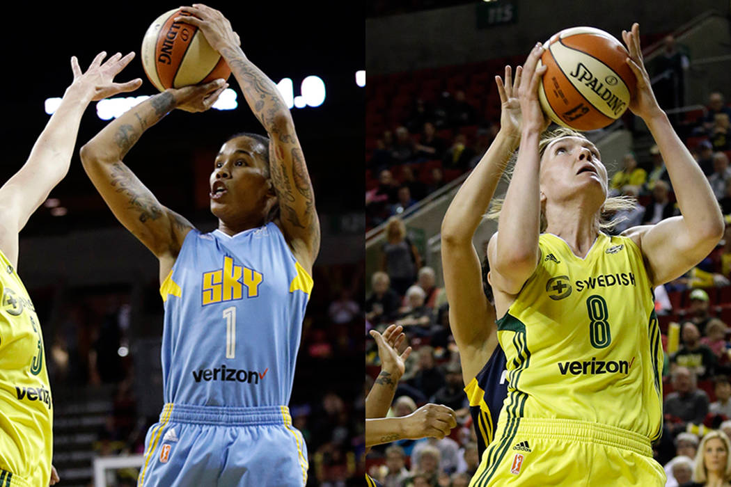 Former Chicago Sky player Tamera Young (left) in action during a WNBA basketball game Tuesday, July 18, 2017, in Seattle and former Seattle Storm player Carolyn Swords (right) in action against du ...