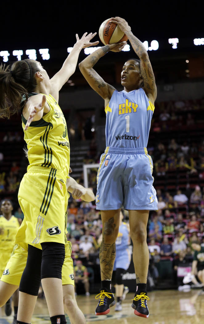 Chicago Sky's Tamera Young in action against the Seattle Storm in a WNBA basketball game Tuesday, July 18, 2017, in Seattle. (AP Photo/Elaine Thompson)