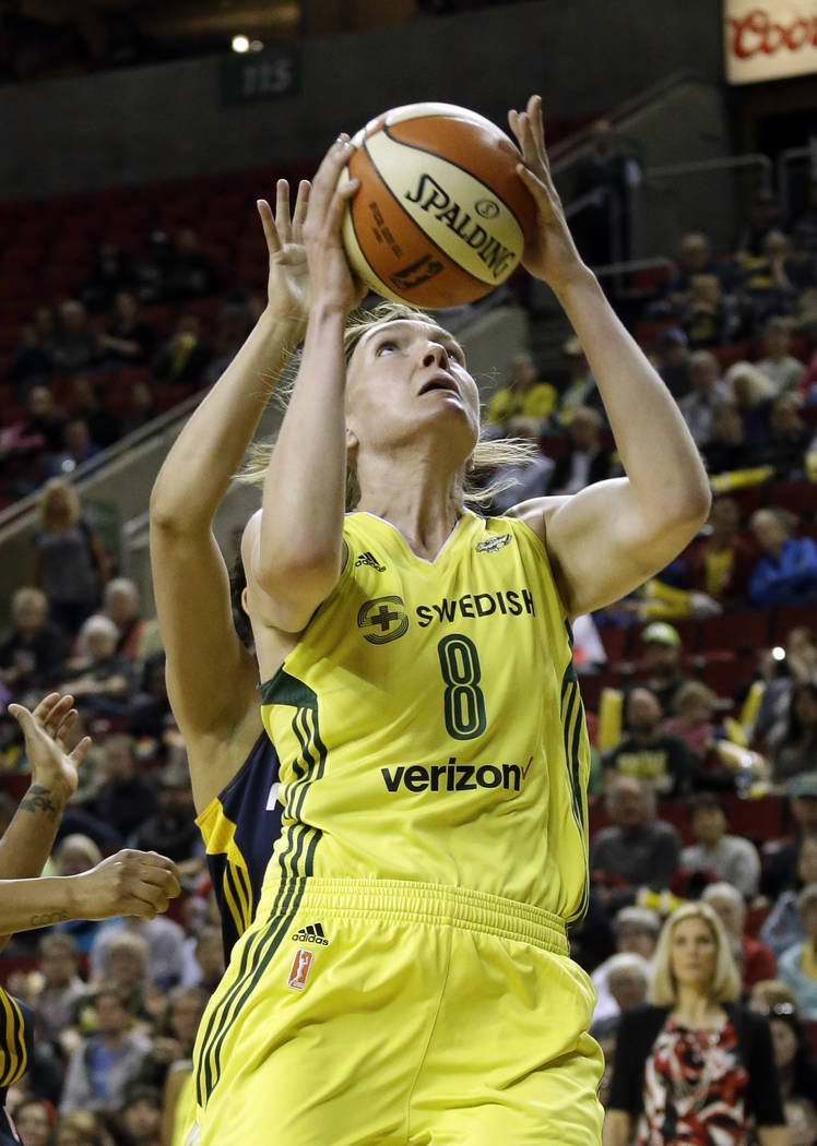 Seattle Storm's Carolyn Swords in action against the Indiana Fever in a WNBA basketball game Sunday, May 14, 2017, in Seattle. (AP Photo/Elaine Thompson)
