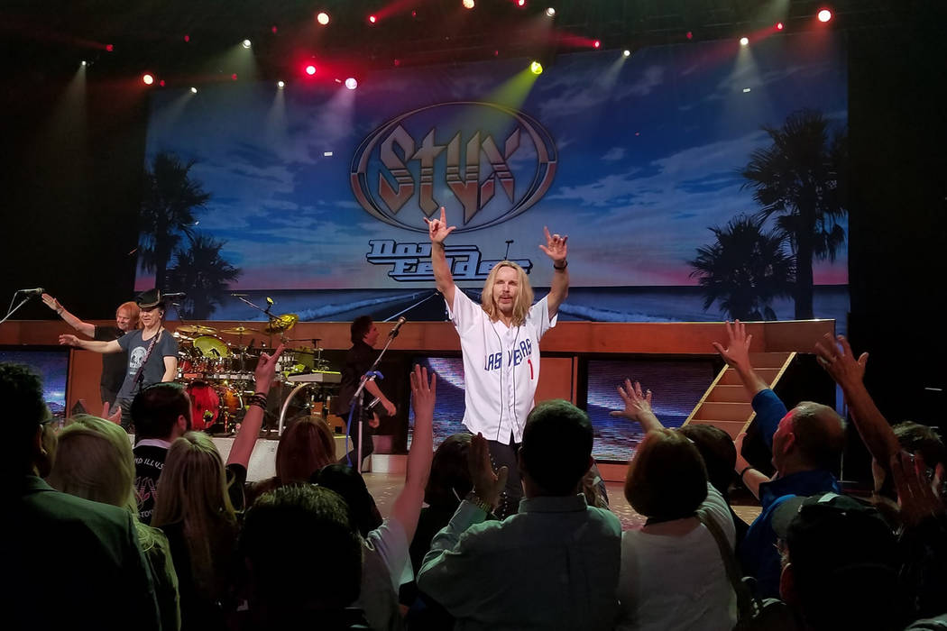 "Tommy Shaw of Styx is shown in action wearing his Las Vegas 51s jersey, which he has worn during the finale of ""Renegades in the Fast Lane"" with Don Felder at The Venetian Theater. (Tom Donoghue)"