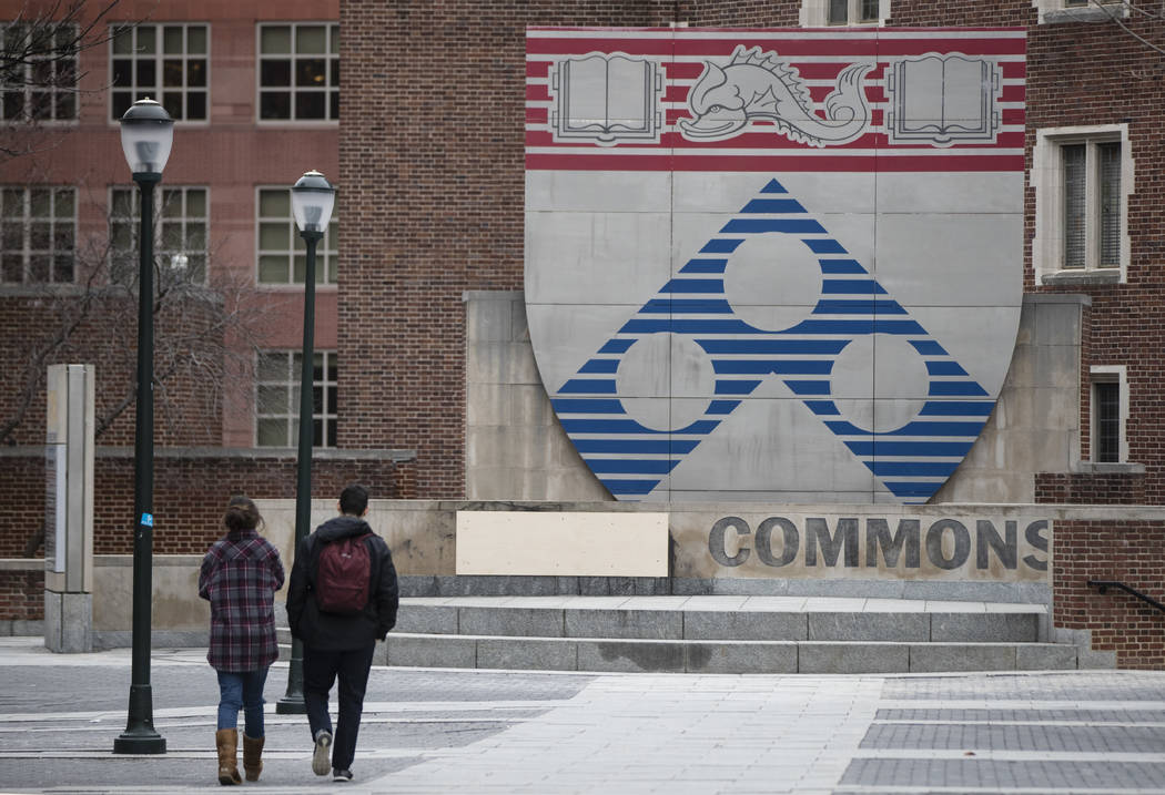 Steve Wynn's name is boarded over at the University of Pennsylvania in Philadelphia, Thursday, Feb. 1, 2018. The university has announced plans to distance itself from casino mogul Wynn and comedi ...