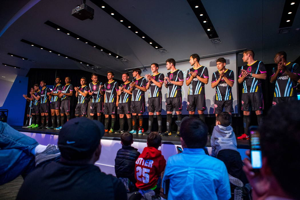 Players show off the new Las Vegas Lights FC jersey at the Zappos Downtown campus on Las Vegas Boulevard on Wednesday, Feb. 7, 2018.  Patrick Connolly Las Vegas Review-Journal @PConnPie