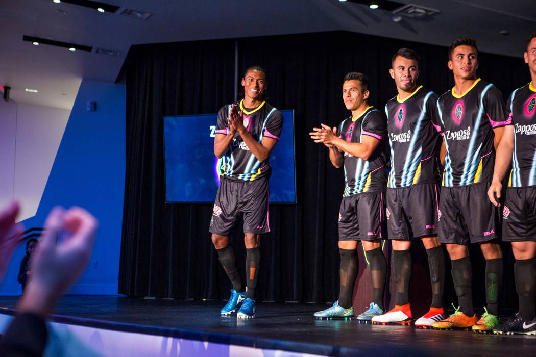 Joel Huiqui makes an appearance along with other players during a jersey reveal for the Las Vegas Lights FC soccer team at the Zappos Downtown campus on Las Vegas Boulevard on Wednesday, Feb. 7, 2 ...