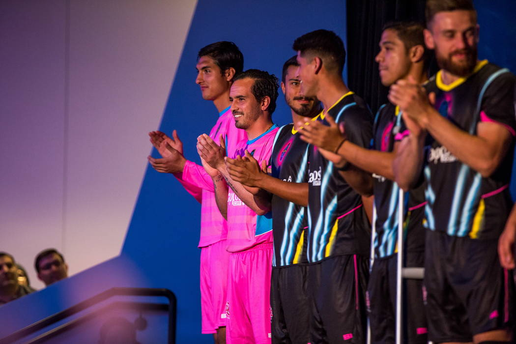 Las Vegas Lights FC soccer players show off their new jerseys, including the pink goaltender jerseys, at the Zappos Downtown campus on Las Vegas Boulevard on Wednesday, Feb. 7, 2018.  Patrick Conn ...