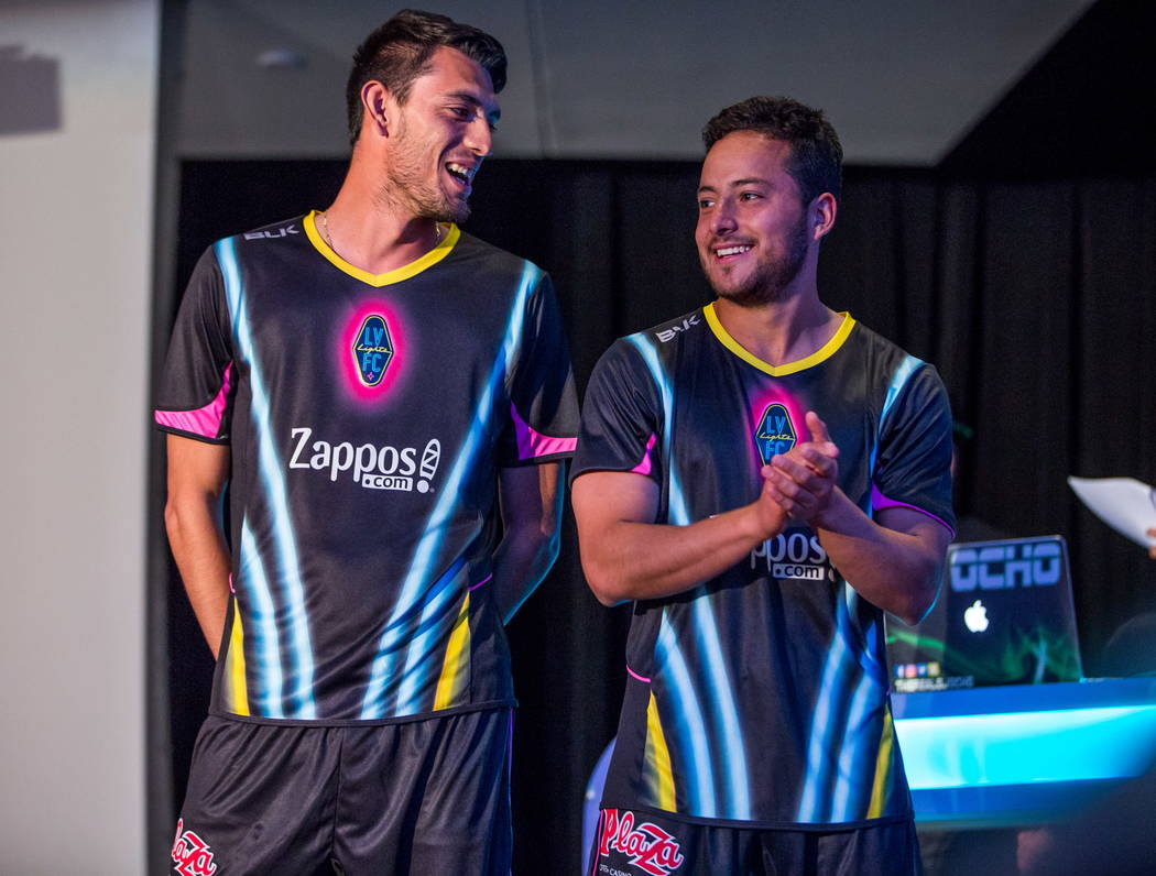 Las Vegas Lights FC soccer players show off their new jerseys at the Zappos Downtown campus on Las Vegas Boulevard on Wednesday, Feb. 7, 2018.  Patrick Connolly Las Vegas Review-Journal @PConnPie