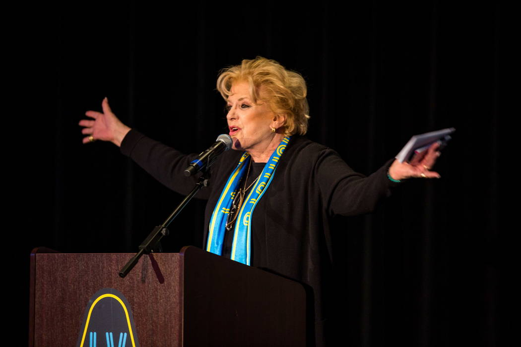 Mayor Carolyn Goodman speaks during a jersey reveal for the Las Vegas Lights FC soccer team at the Zappos Downtown campus on Las Vegas Boulevard on Wednesday, Feb. 7, 2018.  Patrick Connolly Las V ...