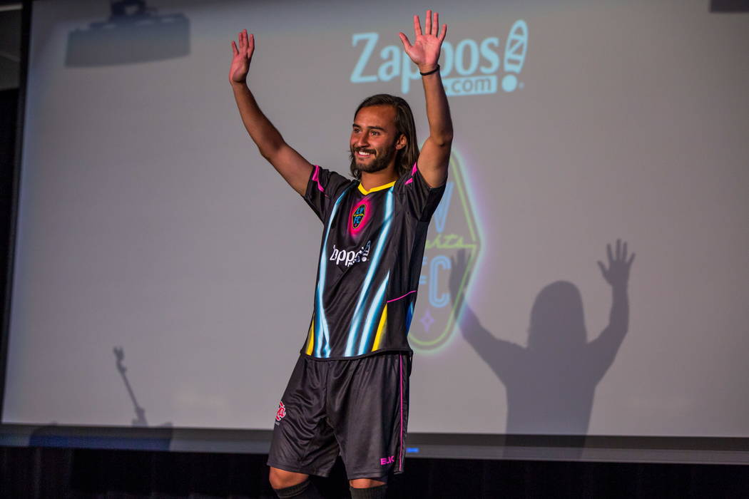 Isaac Diaz comes out wearing his new jersey during a jersey reveal for the Las Vegas Lights FC soccer team at the Zappos Downtown campus on Las Vegas Boulevard on Wednesday, Feb. 7, 2018.  Patrick ...
