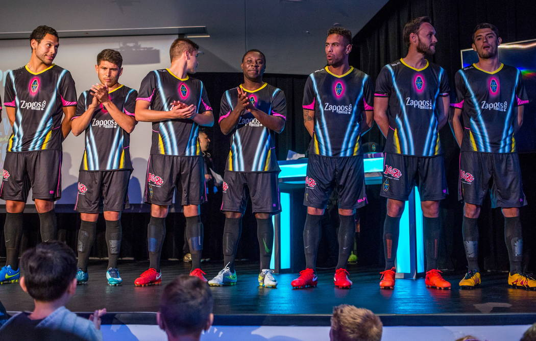 The Las Vegas Lights FC soccer team shows off their new jerseys during a jersey reveal event at the Zappos Downtown campus on Las Vegas Boulevard on Wednesday, Feb. 7, 2018.  Patrick Connolly Las  ...