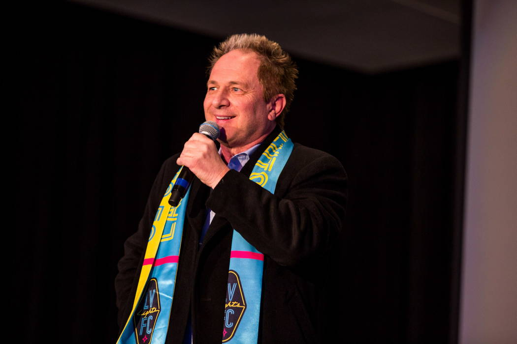 Findlay Toyota general manager John Barr speaks during a jersey for the Las Vegas Lights FC soccer team reveal event at the Zappos Downtown campus on Las Vegas Boulevard on Wednesday, Feb. 7, 2018 ...