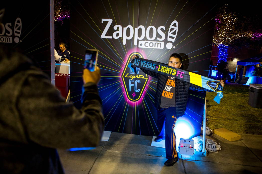 Damian Gomez has his photo taken by his father Alvaro Gomez before the first Las Vegas Lights FC game at Cashman Field in Las Vegas on Saturday, Feb. 10, 2018.  Patrick Connolly Las Vegas Review-J ...