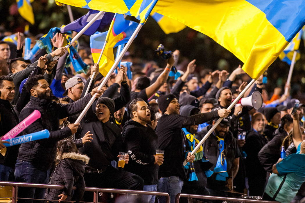 Las Vegas Lights fans cheer while playing against Montreal Impact during the first Las Vegas Lights FC game at Cashman Field in Las Vegas on Saturday, Feb. 10, 2018.  Patrick Connolly Las Vegas Re ...