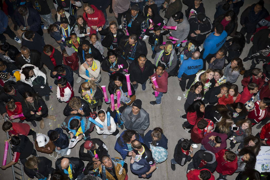 Fans in line outside of Cashman Field for the exhibition match between the Las Vegas Lights FC and Montreal Impact in Las Vegas, Saturday, Feb. 10, 2018. Erik Verduzco Las Vegas Review-Journal @Er ...