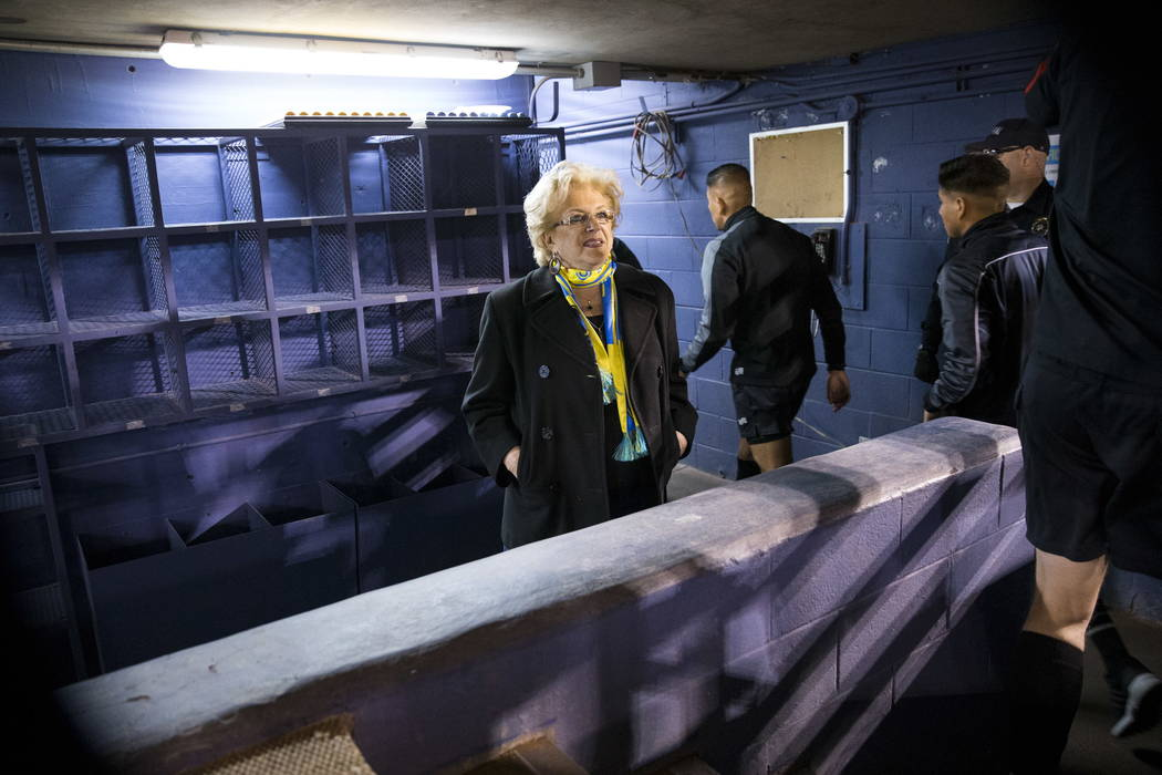 Las Vegas Mayor Carolyn Goodman gets ready to take the field for the exhibition match between the Las Vegas Lights FC and Montreal Impact at Cashman Field in Las Vegas, Saturday, Feb. 10, 2018. Er ...