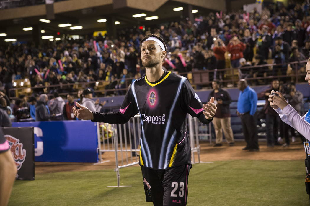 Las Vegas Lights FC Marcelo Gerardo Lugo (23) takes the field for the exhibition match against the Montreal Impact at Cashman Field in Las Vegas, Saturday, Feb. 10, 2018. Erik Verduzco Las Vegas R ...