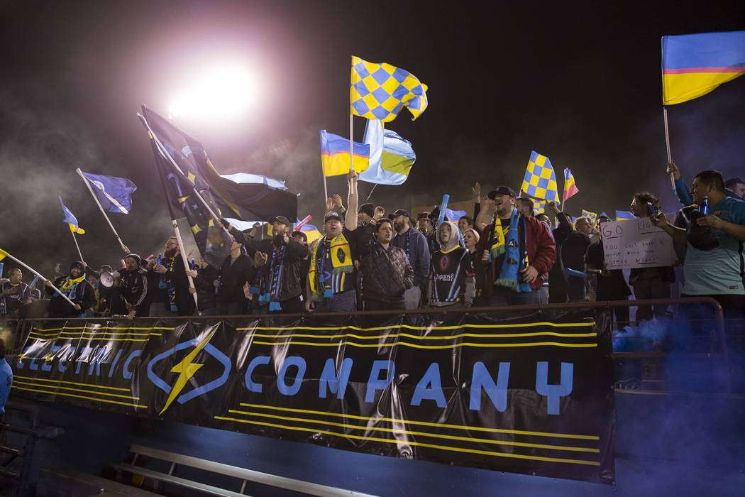 Las Vegas Lights FC fans cheer on their team in the exhibition match against Montreal Impact at Cashman Field in Las Vegas, Saturday, Feb. 10, 2018. Erik Verduzco Las Vegas Review-Journal @Erik_Ve ...