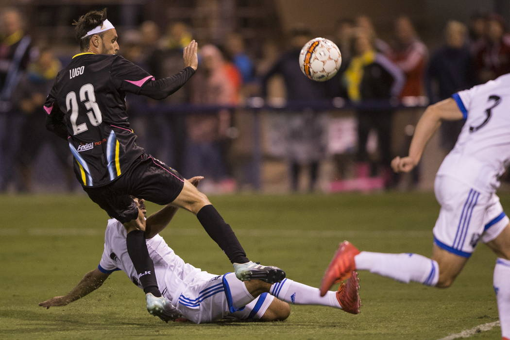 Las Vegas Lights FC Marcelo Gerardo Lugo (23) attempts a kick to the goal against Montreal Impact during an exhibition match at Cashman Field in Las Vegas, Saturday, Feb. 10, 2018. Erik Verduzco L ...