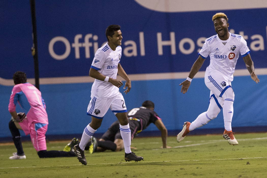Montreal Impact's Michael Salazar (19) celebrates his goal against the Las Vegas Lights FC during the exhibition match at Cashman Field in Las Vegas, Saturday, Feb. 10, 2018. Montreal won 2 ...