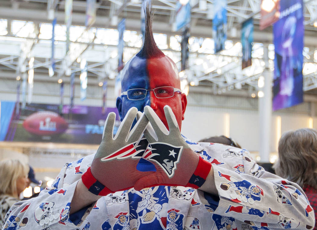 Michael Groves of Boston, Mass., shows off his New England Patriots attire at the Mall of America in Bloomington, Minn., Thursday, Feb. 1, 2018. Heidi Fang Las Vegas Review-Journal @HeidiFang