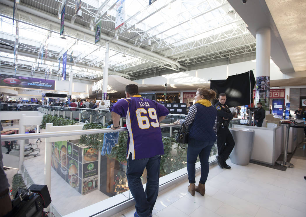 Fans look over to Super Bowl LII's radio row at the Mall of America in Bloomington, Minn., Thursday, Feb. 1, 2018. Heidi Fang Las Vegas Review-Journal @HeidiFang