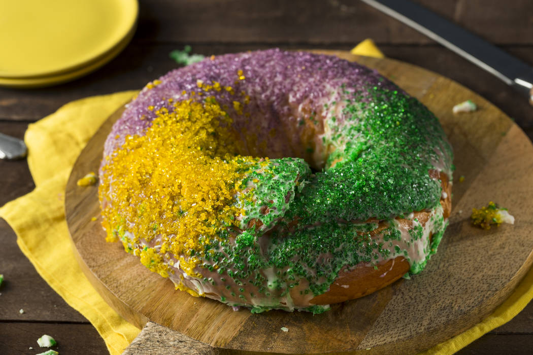 Homemade Colorful Mardi Gras King Cake for Fat Tuesday
