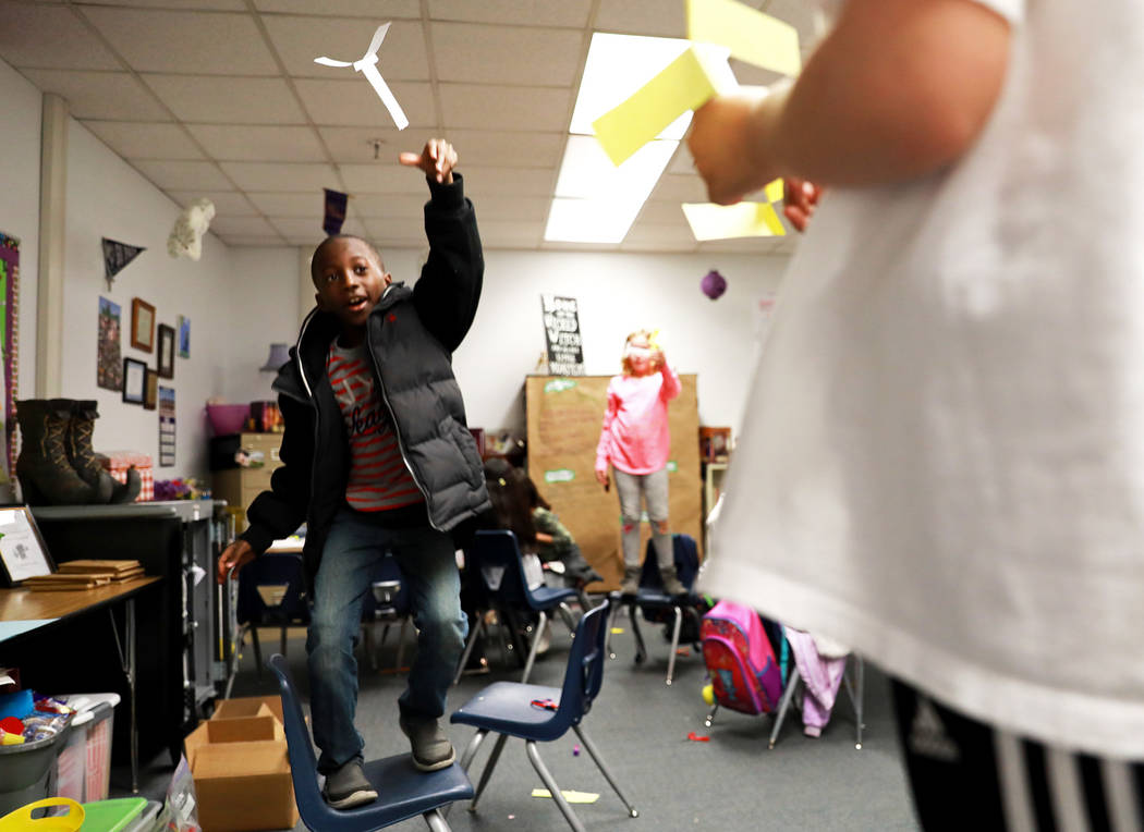 Ismael Akapo, 8, works on a class assignment at Doris French Elementary School, which went from being ranked two stars to five stars, in Las Vegas, Friday, Feb. 2, 2018. Andrea Cornejo Las Vegas R ...