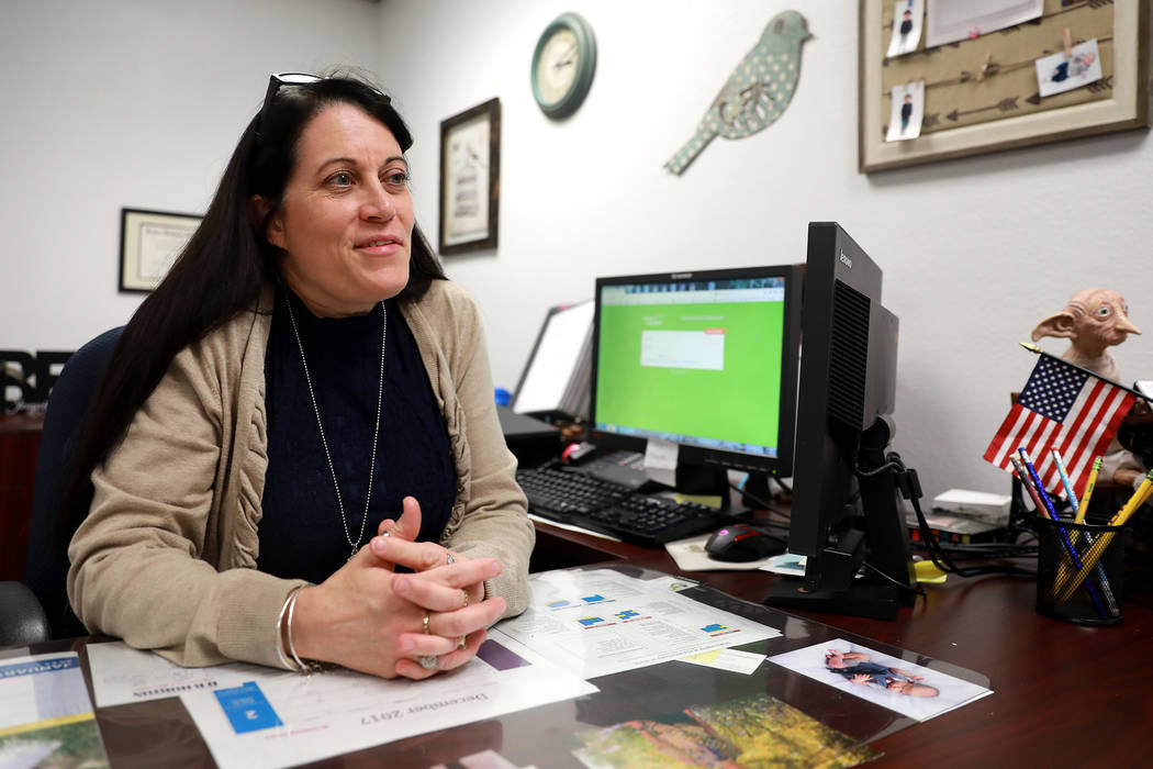 Principal Tammy Villarreal-Crabb talks about her school, which went from being ranked two stars to five stars, at Doris French Elementary School in Las Vegas, Friday, Feb. 2, 2018. Andrea Cornejo  ...