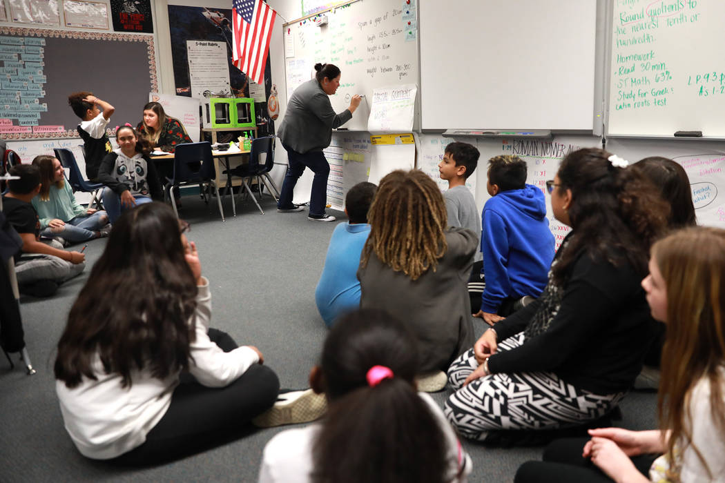 Teacher Celia Roberts teaches her students at Doris French Elementary School, which went from being ranked two stars to five stars, in Las Vegas, Friday, Feb. 2, 2018. Andrea Cornejo Las Vegas Rev ...